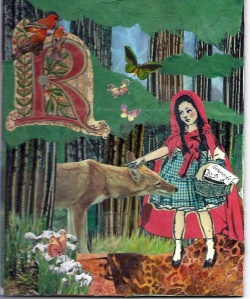 Red Riding Hood tells the Wolf she is going to Granny's